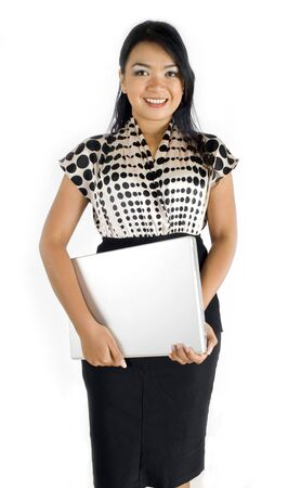 officeworker: Female asian business woman smiling with laptop