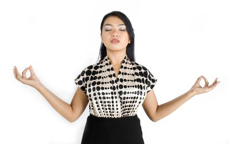 Female asian business woman releasing stress photo