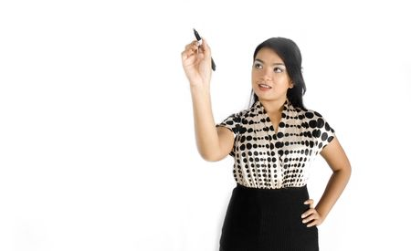 Female asian business woman writing pose Stock Photo - 4756366