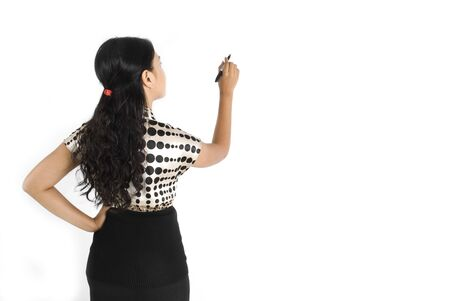 noting: Female asian business woman back writing something
