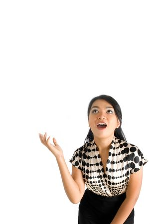 Asian female business woman surprised with falling item Stock Photo - 4748167