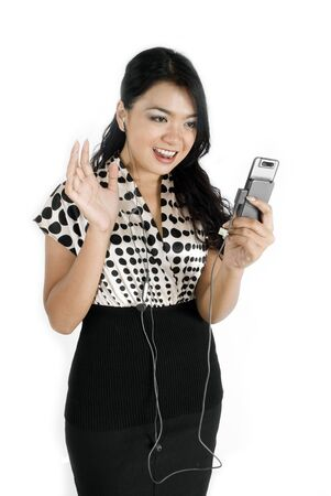 Female asian business woman waving to phone  photo