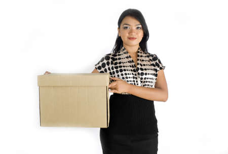 Female asian business woman carrying a box photo