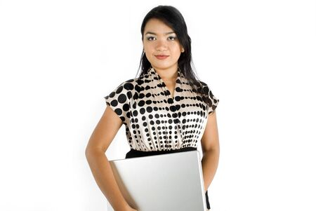 Female asian business woman confident with laptop photo