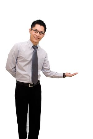 Asian business male welcome pose