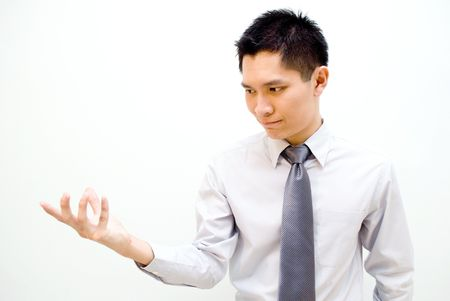 work force: Asian male calm look control pose Stock Photo