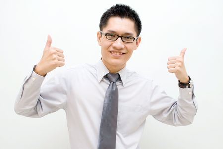 Nerdy Asian business male with two thumbs up