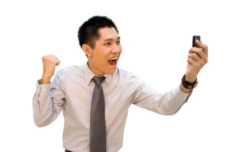 Asian business man video call, happy victory expression photo