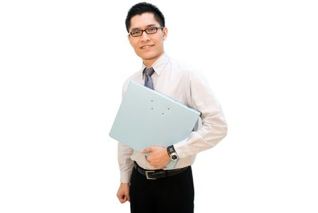 Nerdy looking Asian business man with file