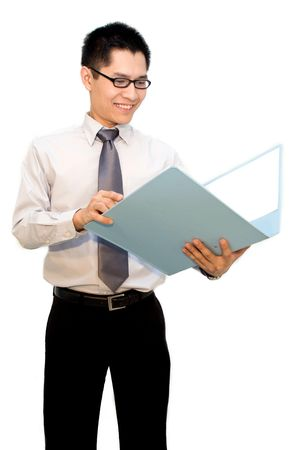 appraise: Nerdy asian business man happy looking at report Stock Photo