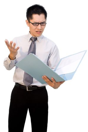 Nerdy Asian business male shocked at report photo