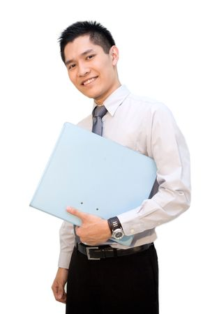 slack: Asian business male posing with file