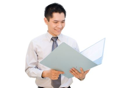appraise: Asian business man happy looking at report