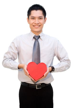 Asian business male posing with gift box photo