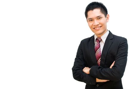 Confident Asian business male in suit