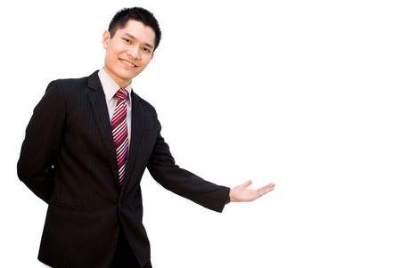 拡大: アジアのビジネス男性歓迎ポーズ 写真素材