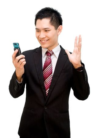Asian business guy video conferencing photo