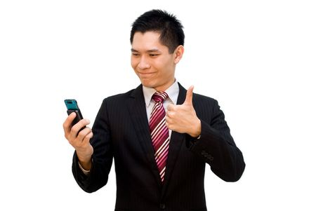 Suited Asian business male thumbs up on video call