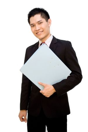 slack: Happy Asian business man posing with file