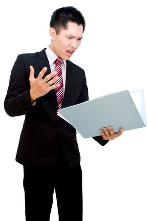 appraise: Asian business male looking at report shock expression