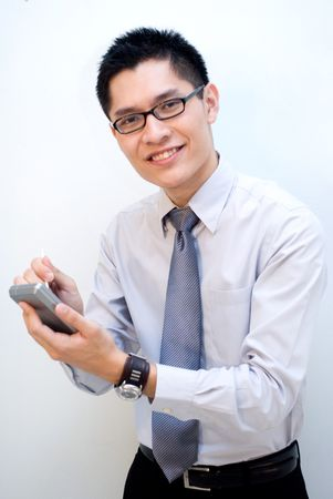 Nerdy asian male with pda photo