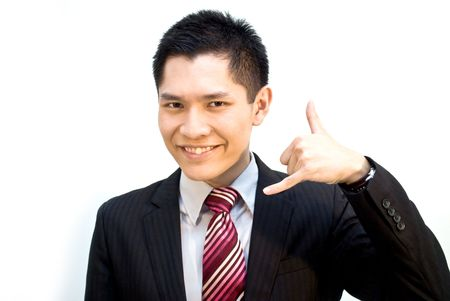 Asian business male in suit - support hand sign