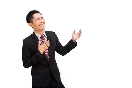 envisage: Asian business male happy and excited gesture