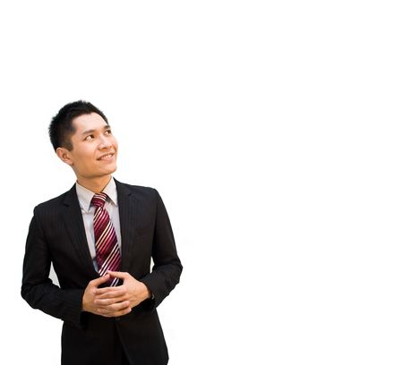 imagining: Confident Asian Business man looking upwards
