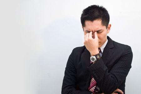 constipated: Estresante hombres de negocios de Asia