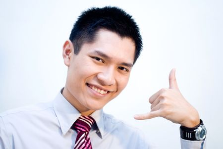 Asian business man with support hand gesture Stock Photo - 4973100