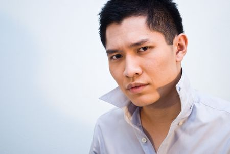 constipated: Asian business male stress