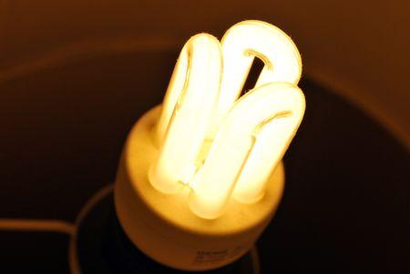 Lit up energy saving bulb photo