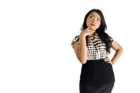 figuring: Female business asian woman thinking