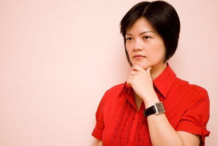 visualizing: Asian lady posing - thinking