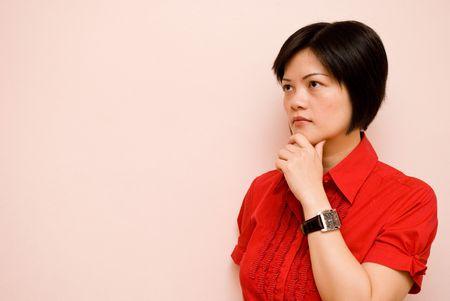 visualizing: Asian lady thinking pose