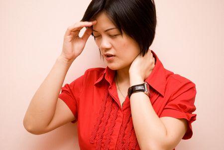 Asian lady with headache photo