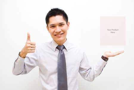 slack: Asian business male with thumbs up showing off product