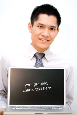 Asian business guy showing off laptop Stock Photo - 5246038