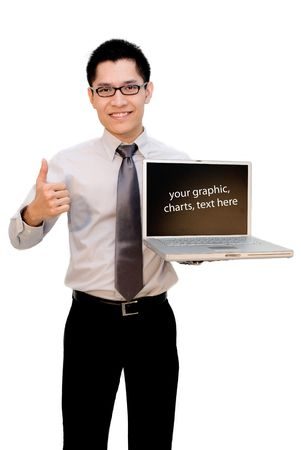 Nerdy  Asian business guy thumbs up with laptop