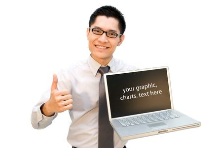 Nerdy Asian business guy thumbs up with laptop Stock Photo - 5246065