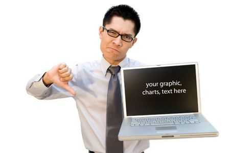 Thumb down nerdy businessman with laptop photo