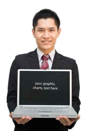 Asian business male in suit showing off laptop photo