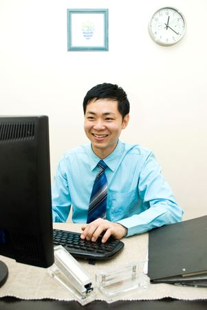 office force: Asian business male happy working