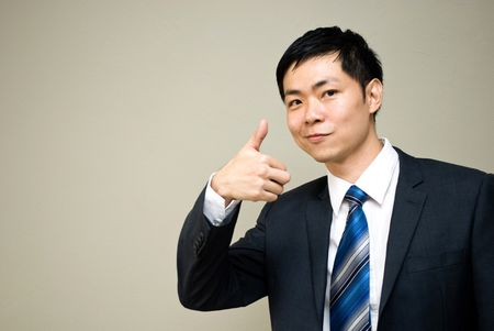 Asian businessman - call center pose photo
