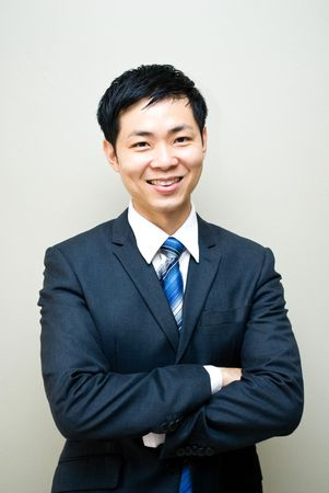 Asian businessman posing with confident Stock Photo
