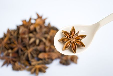 Star Anise spices in spoon