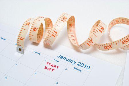 Start Diet - Calender, measurement tape photo