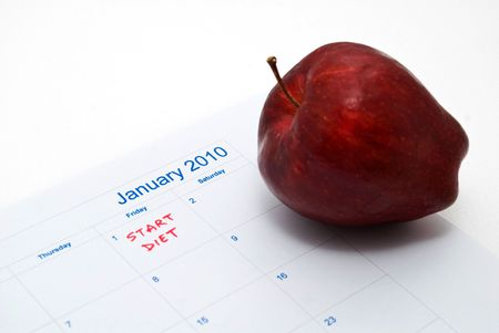 New Year Resolution diet - apple and measuring tape Stock Photo - 5770103