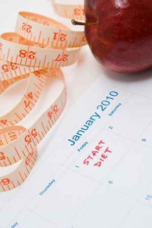 New Year Resolution diet - apple and measuring tape Stock Photo - 5770113
