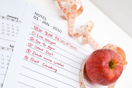 New Year Resolution diet - apple and measuring tape Stock Photo - 5770106